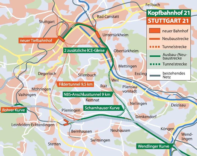 Vergleich von Stuttgart 21 und Kopfbahnhof 21